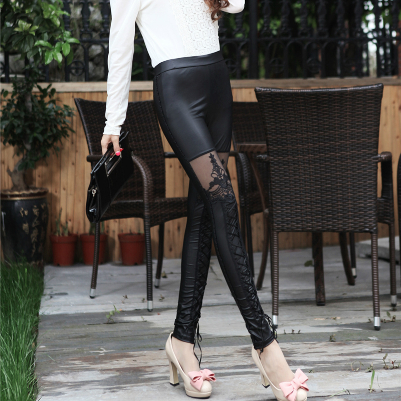 2019 Faux Leather Lace Feet Pants Lace Bandage Ladies Pants Slim Sexy Leggings Outdoor Casual Leggings O4A040