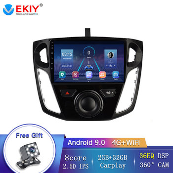 EKIY 8 Core Android 9.0 Multimedia Video Radio Player For Ford Focus 3 2012-2015 Autoradio GPS Navigation Support 360 Camera DVD image