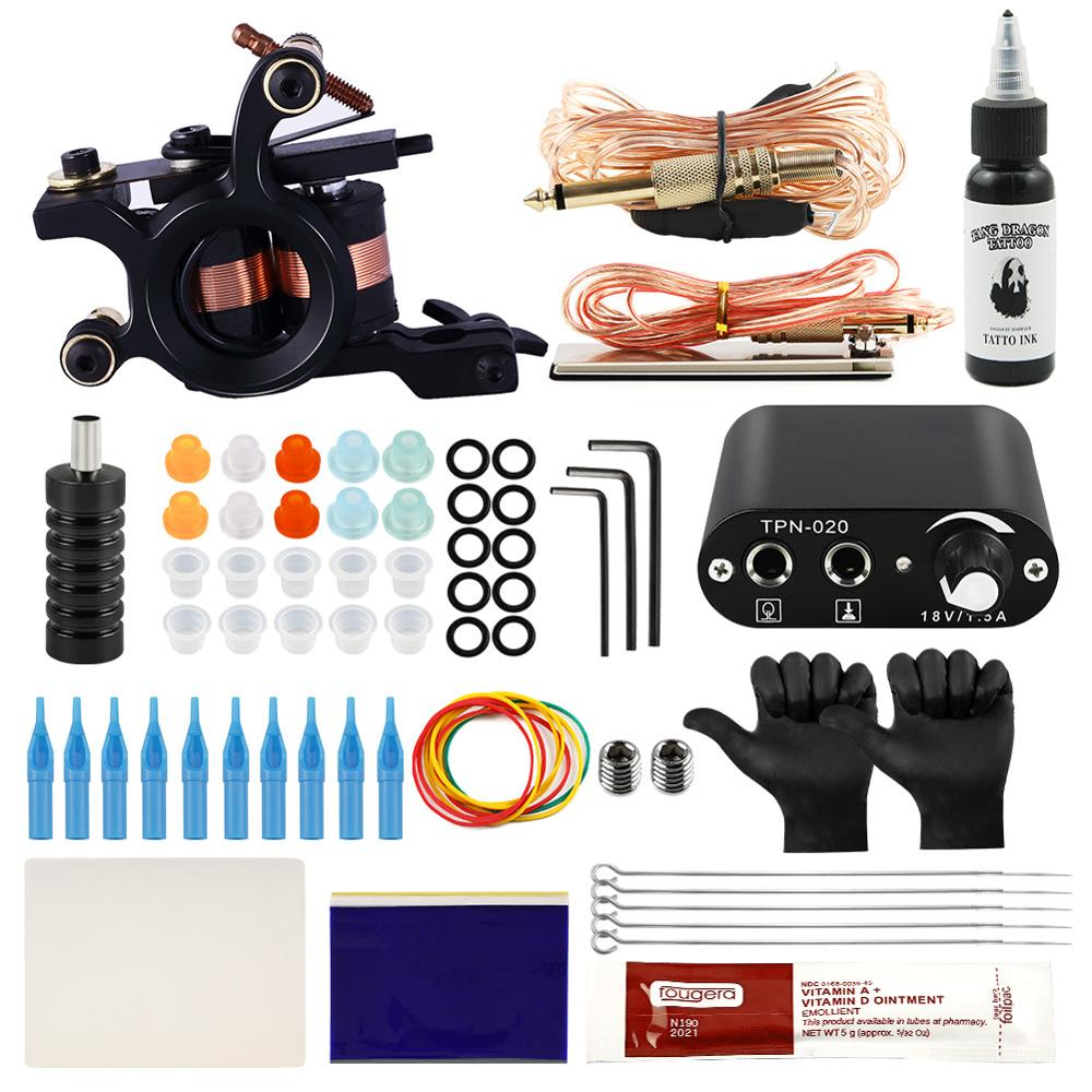 Complete Tattoo Kit 1 Machines Gun Tattoo Accessories Supply Permanent Makeup Tattoo Set Body Art Tools Black Ink For Beginner