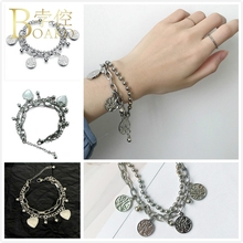 BOAKO Heart Bracelets Bangles Harajuku Antique Silver Chain Bracelet for Women Vintage Coin Bangle Girl pulsera Boho Z5