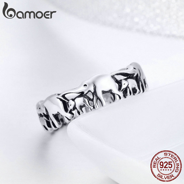 BAMOER 925 Sterling Silver Stackable Animal Collection Elephant Family Finger Rings for Women Jewelyr SCR344 3