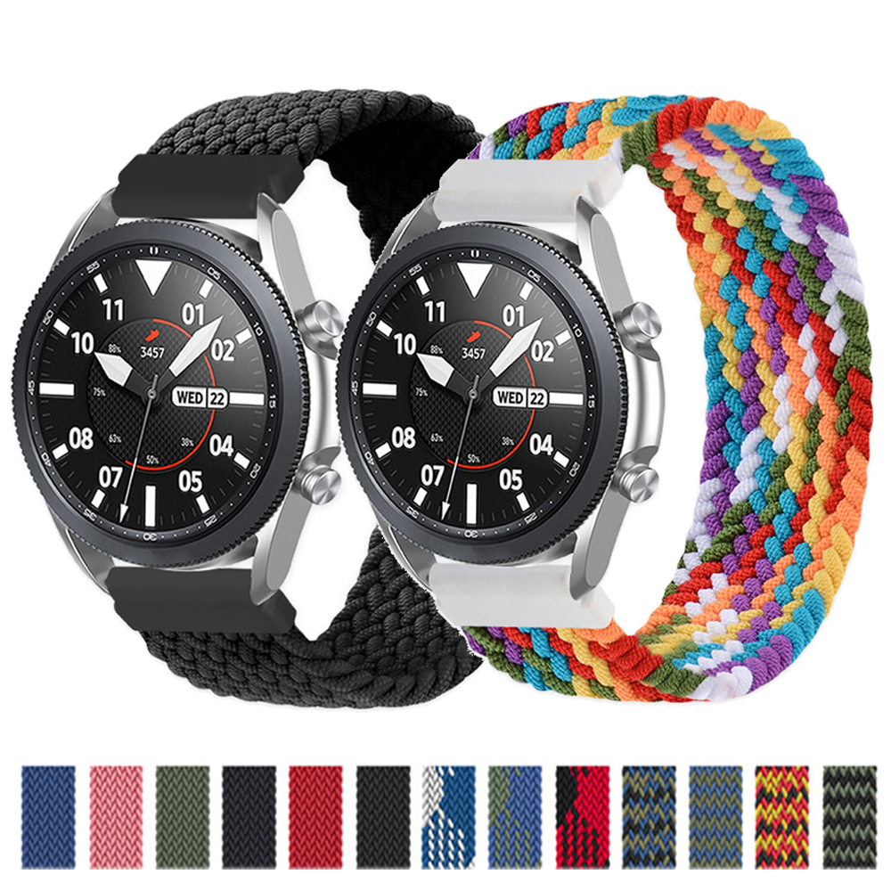 20mm/22mm Braided Solo Loop Band for Samsung Galaxy watch 3/46mm/42mm/active 2/Gear S3 bracelet Huawei watch GT/2/2e/Pro strap