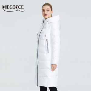 Image 3 - MIEGOFCE 2020 חדש חורף נשים אוסף מעיל Ladie חורף מעיל מתחת הברך אורך חם מעיל עם ברדס להגן על Ffrom רוח קר