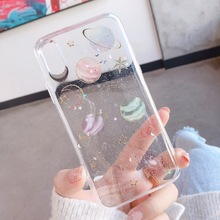 Luxury Epoxy Phone Case For iPhone X XS XR XS Max Back Cover For iPhone 7 8 6 6S Plus 5 5S SE Planet Star Transparent TPU Cases стоимость