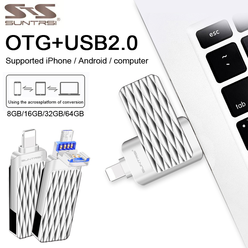 Suntrsi USB 2.0 Flash Drive 32GB OTG 3 In 1 Pendrives High Speed 64GB For Smart Iphone 7/8/X/XR/Android/ipad Free Shipping