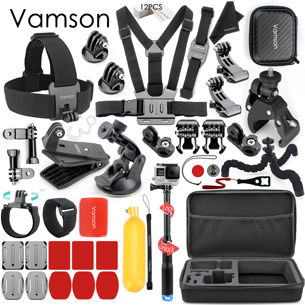 Vamson Accessories for GoPro Hero 8 7 6 5 Chest Strap Motorcycle Clamp Collection Box for Xiaomi Yi 4K for SJCAM for Eken VS153C Sports Camcorder Cases     - title=