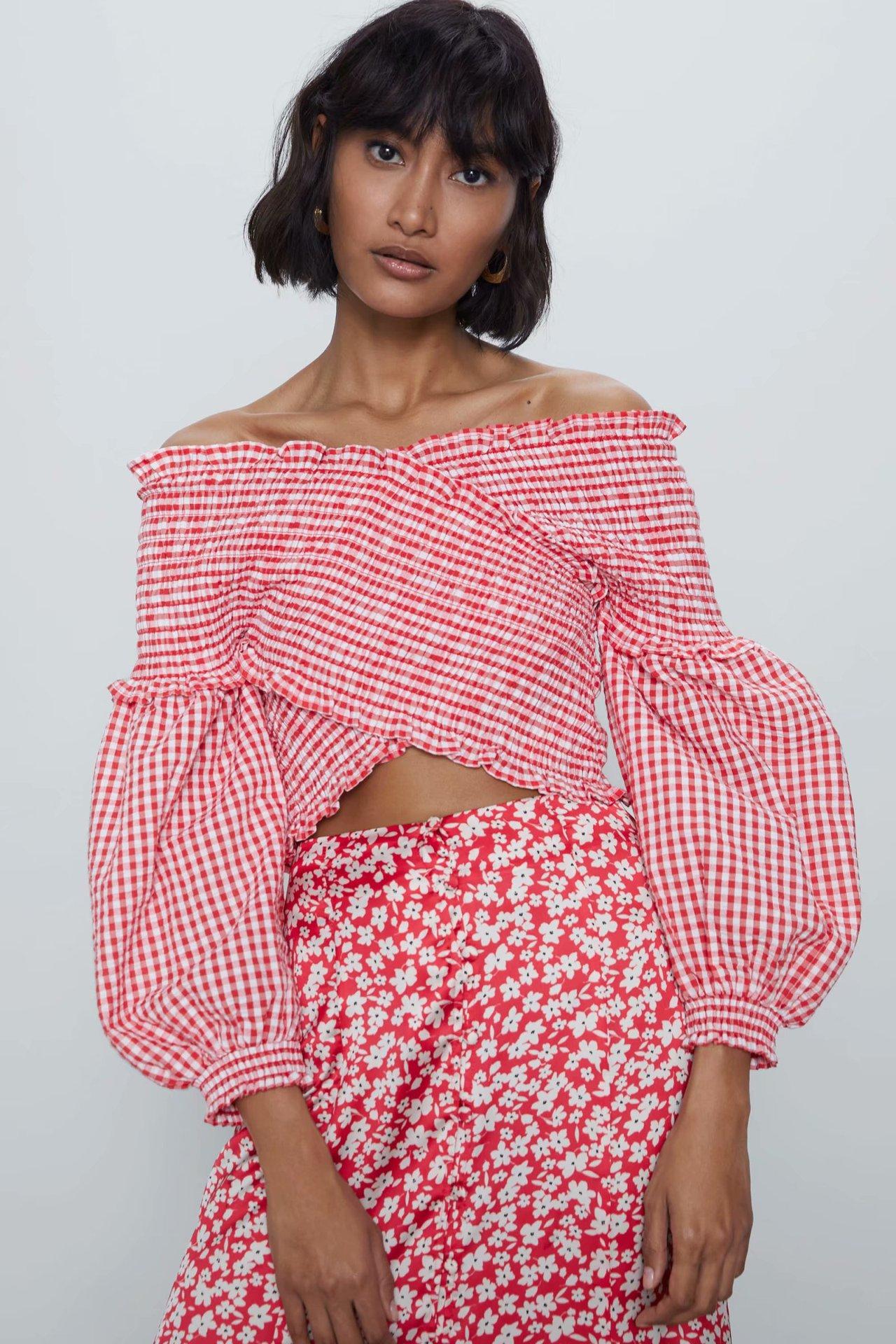 2020 New Spring Summer European Lattice Female Tops Zaraing Vadiming Sheining Women Pink Blouse Shirt Streetwear O9612