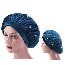 New beaded velvet bonnet elastic wide band sleep cap winter turban Night Sleep Cap Hair Care Bonnet Nightcap For Women Men