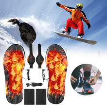 USB DC Carbon Fiber Electric Heating Insoles EVA Heating Insoles Rechargeable 4.5V Battery Box Straps On The Feet Fast Delivery