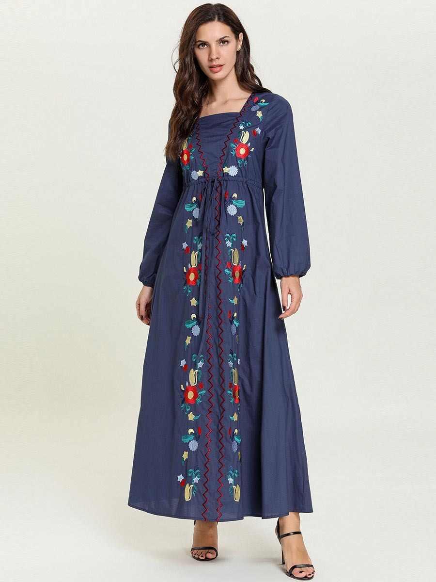 여자 여자 이슬람 의류 아이 이슬람 드레스 두바이 caftan kaftan 레드 블루 붕대 가운 자수 abaya 파키스탄 터키 터키