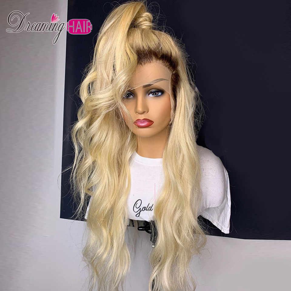 180% 613 blond koronkowa peruka na przód ciało fala peruwiańskie włosy remy koronkowa peruka ludzkie włosy faliste peruki wstępnie oskubane peruki z dziecięcymi włosami