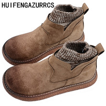 HUIFENGAZURRCS-New Pure handmade boots,Leather shoes,retro art mori girl shoes,Casual retro short boots,Winter Keep warm boots