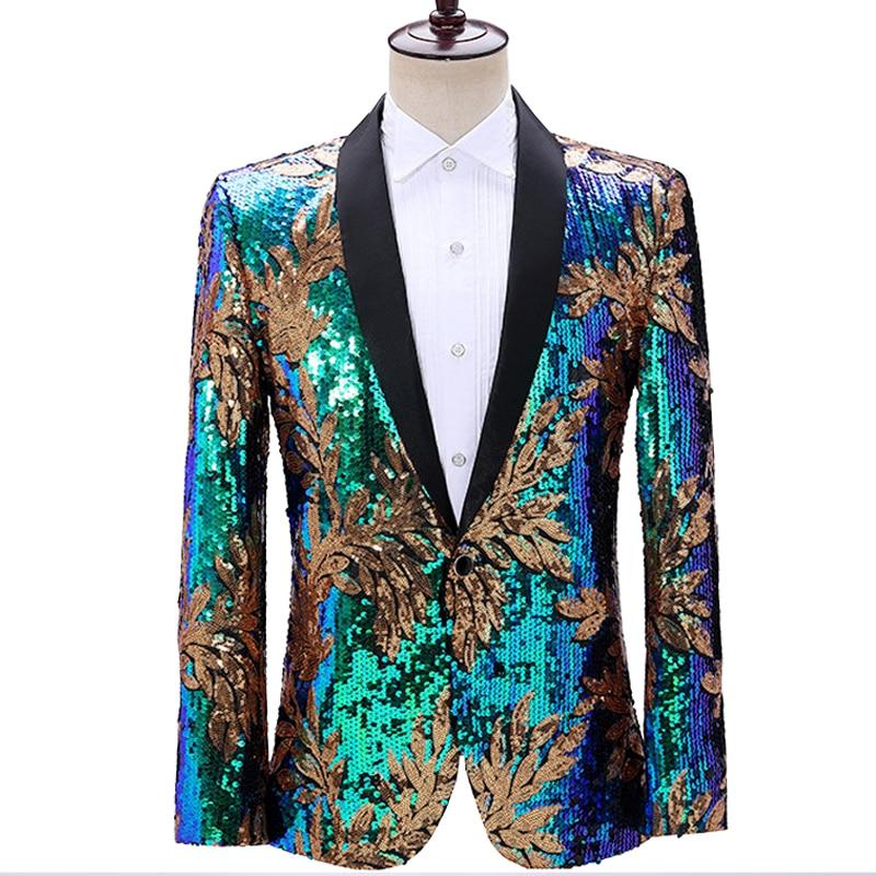 Leaf Sequin Jacket Men Stage Party Mens Suit Jacket Dress Luxury Performance Mens Blazer Wedding DJ Singer Costume Homme