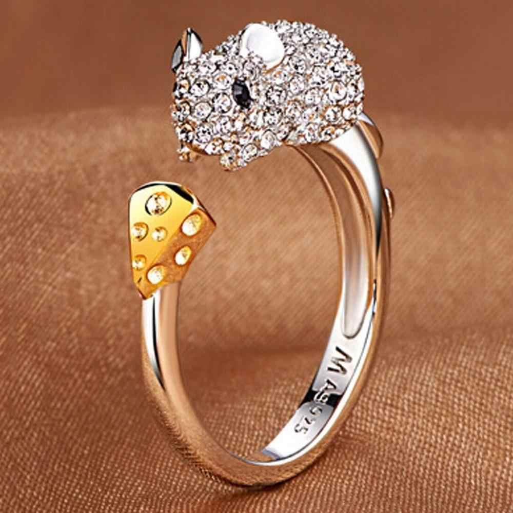 Lindo Animal zodiaco chino clásico anillo de cumpleaños para mujer anillo ajustable de regalo de San Valentín Q4P423
