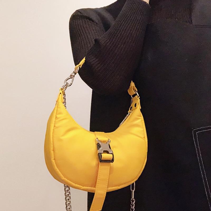 Vintage Hobo Small Shoulder Bags For Women Half Moon Nylon Handbag Retro Causal Crossbody Bag Female Purses Ladies Bolsa Majur