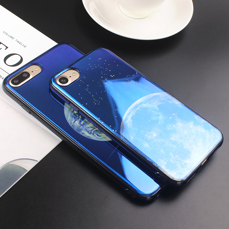 JAMULAR Electroplate Cahaya Biru Lembut Phone Cover untuk iPhone X XS - Aksesori dan suku cadang ponsel - Foto 3