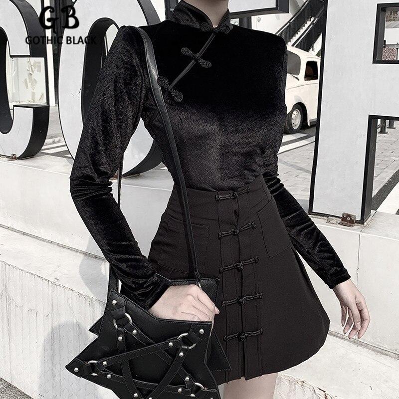 Gothic Black Stand Neck Long Sleeve Velvet Splice Bodycon Zip Cheongsam Tops Single-breasted Pocket Slim Dark Skirt 2 Piece Set