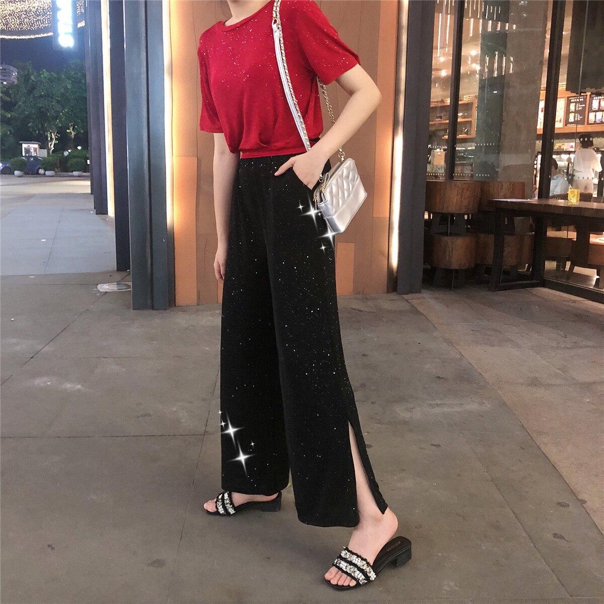 1188 # [Photo Shoot] Korean-style Crew Neck Pullover Navel Black Paillette Short Sleeve T-shirt Women's Loose Pants Leisure Suit