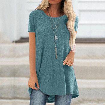 Women's round neck short sleeve casual top casual fashion plus size round neck short sleeve long T-shirt wild solid color 02* casual round neck short sleeve plus size denim dress for women