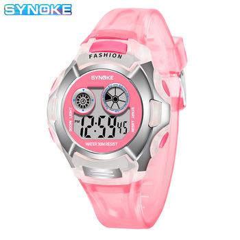 Synoke przezroczysty kolor moda elektroniczny zegarek Alarm siedem kolorów Noctilucent wielofunkcyjny dla chłopców z motywem sportowym i dziewcząt Primary Sc tanie i dobre opinie SYNOKE synoke Mainland China 9034
