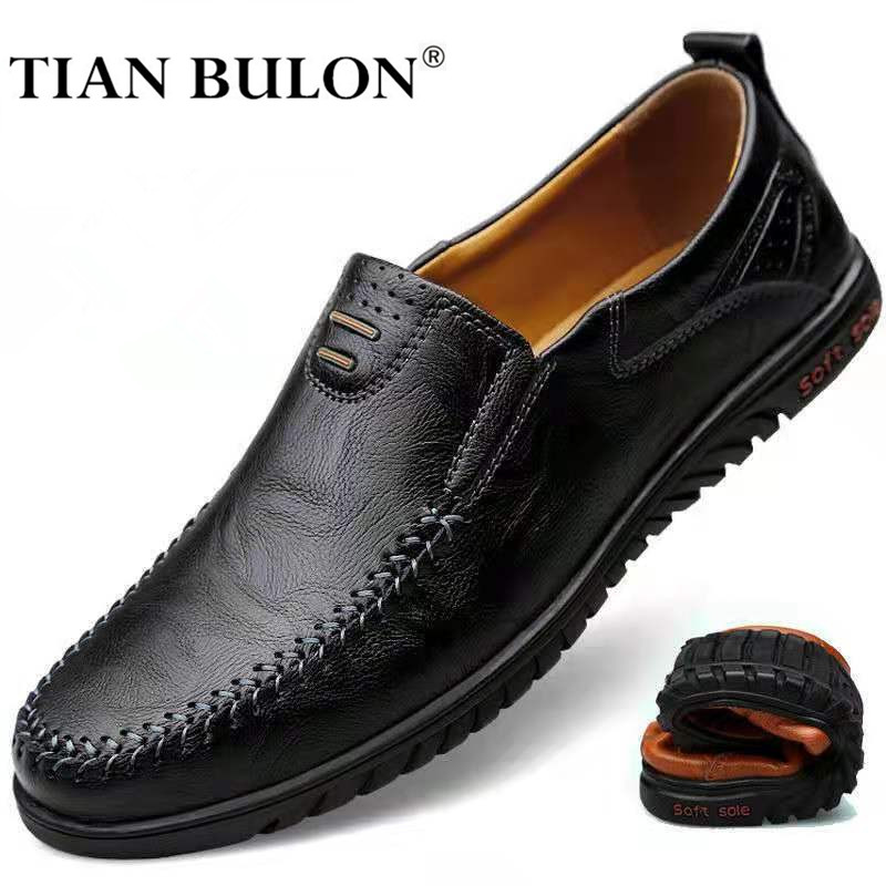 Genuine Leather Men Shoes Luxury Brand 2020 Italian Casual Slip On Formal Loafers Men Moccasins Italian Black Male Driving Shoes