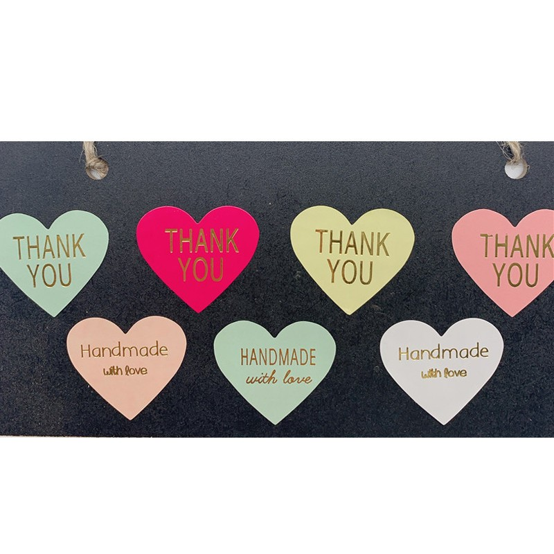 100pcs/lot Heart Color Heart Design Bronzing Label Sticker Thank You Sticker Scrapbooking For Gift Decoration Stationery Sticker