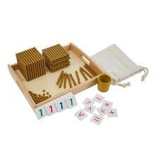 Montessori banco jogo dourado grânulo materiais sistema decimal matemática matemática materiais auxiliares de ensino do bebê pré-escolar educação brinquedos