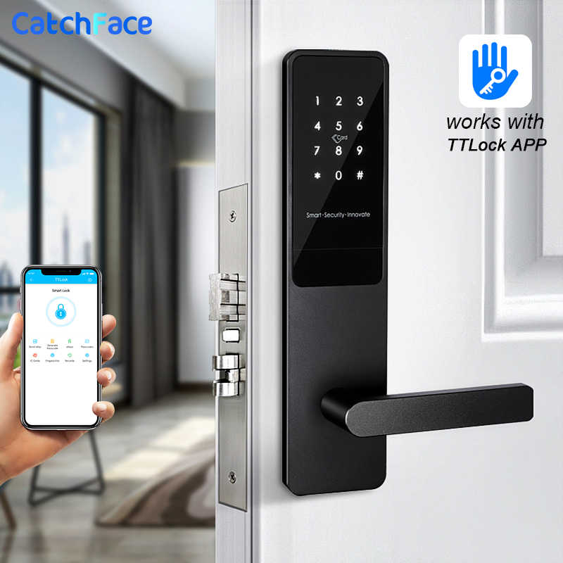 Aplikasi Wifi Keamanan Elektronik Digtial Kunci Keyless Smart Door Lock TTlock Aplikasi/Kartu RFID/Keypad Password/Kunci alexa/Smart Watch