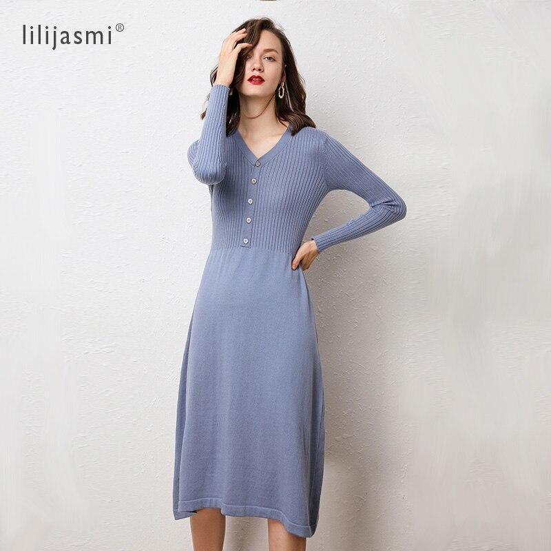 Women's V-neck Wool Cashmere Blends Knit Dress Slim Buttons Flower Autumn Winter Long Sweater Dress Soft 2019 Fashion 1521