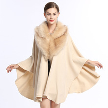 New Fashion Women Faux Fur Poncho Coat Long Wool Cashmere Cape Cardigan Women Poncho Knitted Sweater Women Scarves 4 Colors