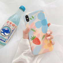 For iPhone 7plus case silicone cover Candy colors flowers strawberry Phone for coque 7 6 6s 8 Plus X XR XS MAX Case