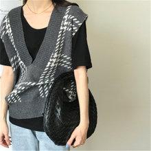 Вязаный свитер жилет осень мода классический узор большой v
