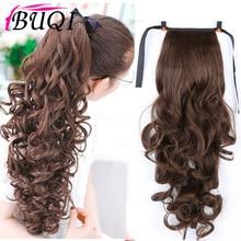 BUQI 22 ''длинные вьющиеся конский хвост для черных женщин винно-красные волосы термостойкие синтетические поддельные волосы части аксессуары для волос для взрослых людей