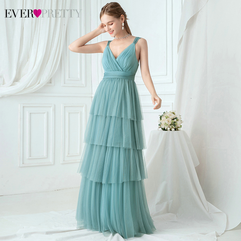 Elegant Blue Prom Dresses Ever Pretty A-Line V-Neck Layers Tulle Ruched Sleeveless Simple Long Party Gowns Vestidos De Gala