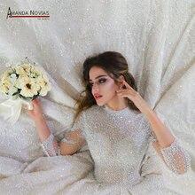 2020 gelinlik amanda novias tam inciler lüks lübnan gelinlik