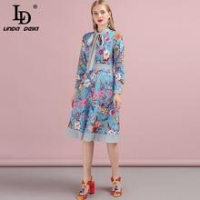 LD LINDA DELLA 2019 Autumn Women New Dress Runway Fashion Designer Long Sleeve Simple Bow Printed Casual A-Line Ladys Dresses цена и фото