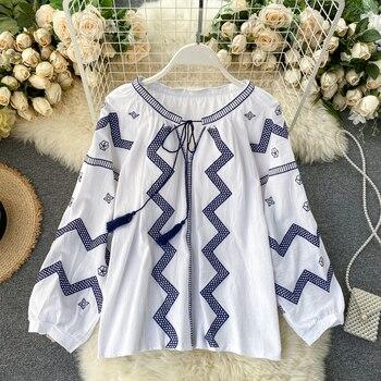 ¡Novedad de 2020! Blusa bordada Retro de manga larga holgada y dulce para mujer, blusa de estilo informal para mujer