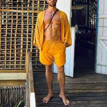 INCERUN 2021 Casual Men Sets Solid Color Open Stitch 3/4 Sleeve Shirt Beach Shorts Streetwear Men Hawaiian Suits 2 Pieces S-3XL