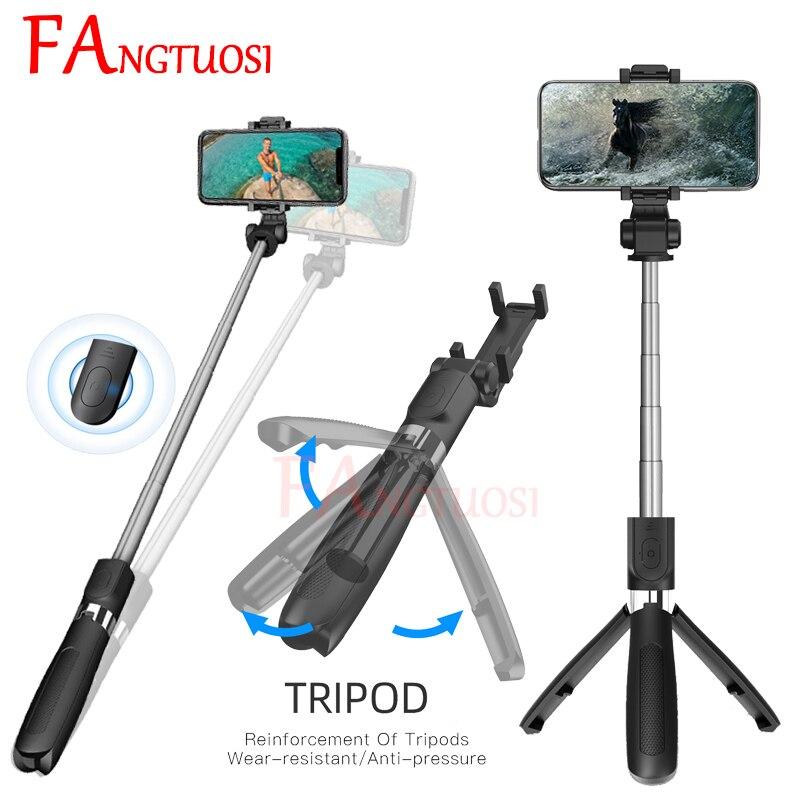3 em 1 FANGTUOSI NOVO Sem Fio Bluetooth selfie Vara Extensível Monopé Handheld Mini Tripé Com palo selfie Obturador Remoto