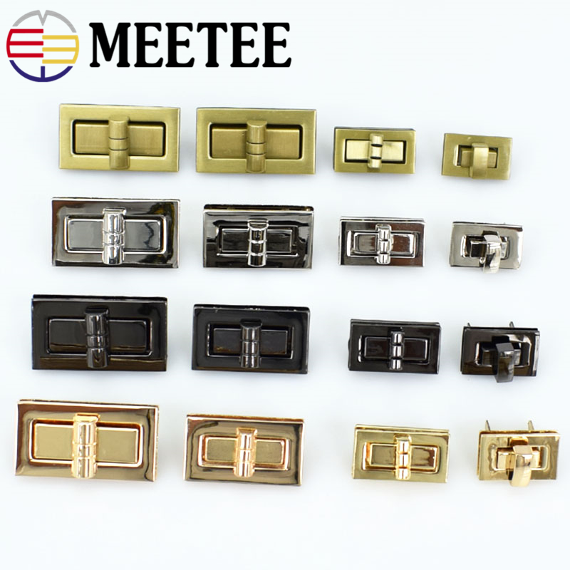 2pc Meetee Metal Twist Turn Lock Snap Clasps Purse For Bag Part Accessories DIY Handmade Closure Hasp Hardware Buckle With Screw