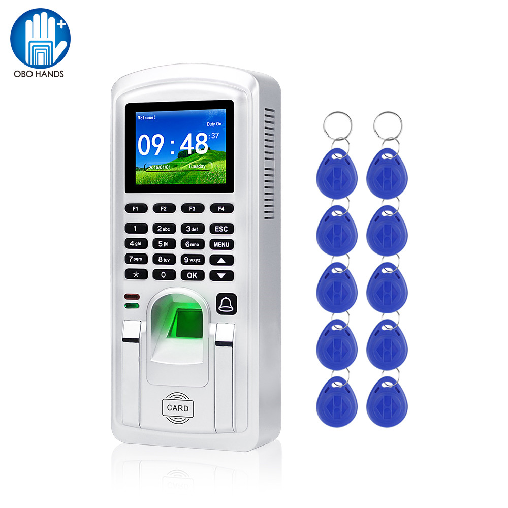 RFID Fingerprint Access Control TCP/IP Biometric Time Attendance System Machine Employee Check-in Recorder 2.4inch USB Realand