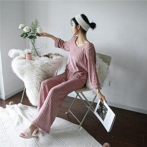 Image 3 - Julys song 여성 겨울 플란넬 잠옷 2 개 세트 따뜻한 파자마 두꺼운 잠옷 여성 캐주얼 홈웨어