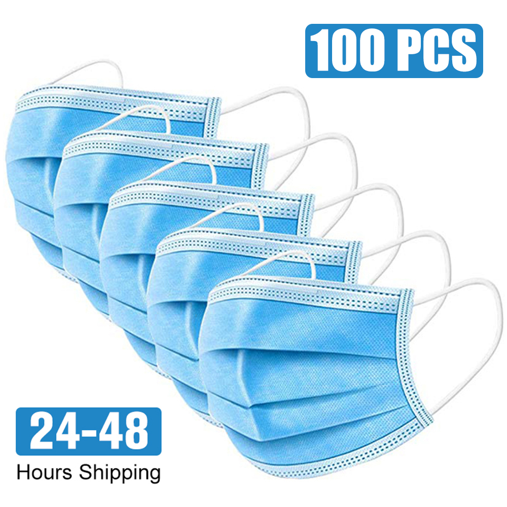 100pcs Disposable Mask 3-Ply Protective Mask Anti-Dust Anti-pollution Safety Mask Nonwoven Elastic Face Mask Earloop Mouth Mask