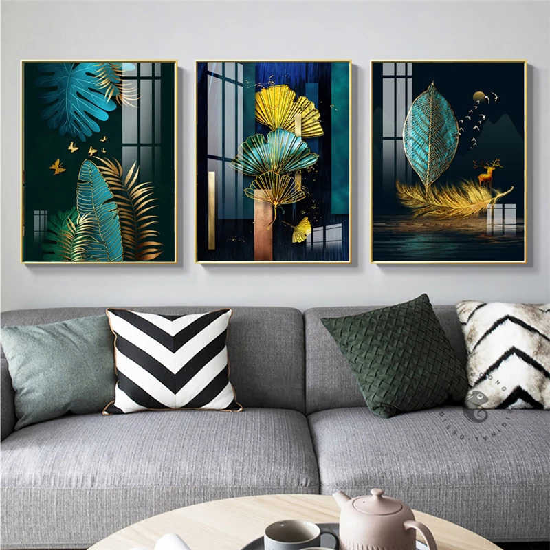Современная зеленая и Золотая картина в китайском стиле холст художественные плакаты Водонепроницаемая Печать на холсте настенное искусство домашний Декор водонепроницаемый