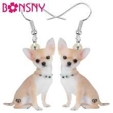 Bonsny Acryl Chihuahua Hund Ohrringe Tier Tropfen Baumeln Schmuck Für Frauen Mädchen Teen Party Charme Trendy Heißer Verkauf Geschenk groß