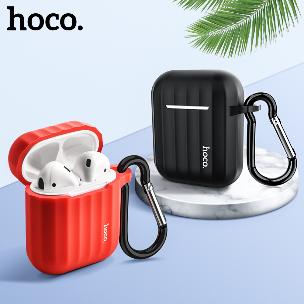 HOCO Earphone Case For Apple Airpods Soft Silicone Cover Colorful Ultra Thin Protector For Air Pods Cover + Gift Anti-lost Rope