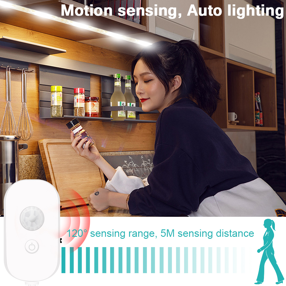 USB 5V Motion Sensor Led Strip Lamp PIR Under Cabinet Lights Waterproof Wardrobe Led Light Closet Kitchen Led Lamp Tape 2835SMD