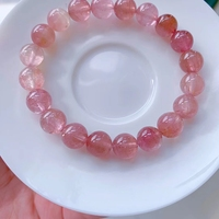 Top Natural Pink Tourmaline Crystal Bracelet 9.1mm Clear Round Beads Women Crystal Jewelry Candy Tourmaline AAAAAAA 2