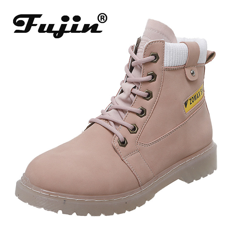 Fujin Women Shoes Lace Winter Ankle-Rubber Flat-Bottom Round-Toe Fashion Causal Cross-Tied