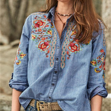 2020 Ins Fashion Women Shirts Long Sleeve Women Blouse Embroidery Shirt